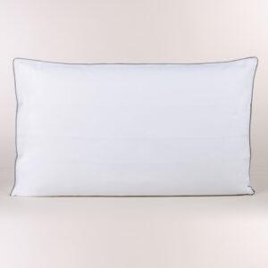 Federa cuscino letto a sacco in percalle bianco con profilo su tre lati