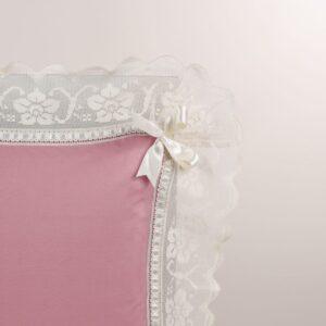 Federa guanciale colore rosa con pizzo