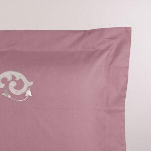Federa cuscino letto rosa dust con ricamo sabbia