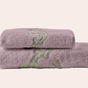 Coppia spugna rosa dust con ricamo lino sabbia