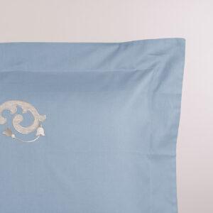 Federa cuscino letto avio con ricamo lino sabbia