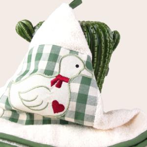 Girella da cucina in spugna con ricamo papera verde