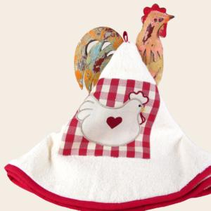 Girella da cucina in spugna con ricamo gallina