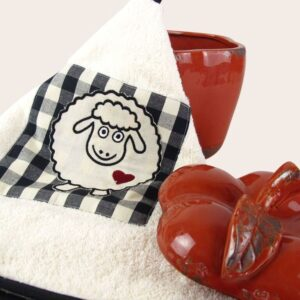 Girella da cucina in spugna con ricamo pecorella