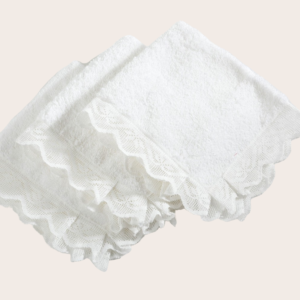 Set di asciugamanini per ospiti spugna e pizzo