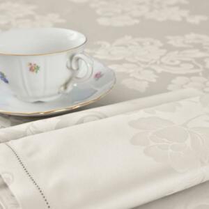 Tovaglia di fiandra di cotone beige con disegno floreale rifinita con fine orlo a giorno