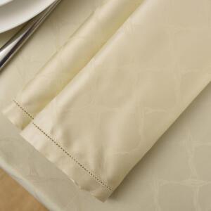 Tovaglia Elegance Ruby in fiandra di cotone beige con disegno geometrico, rifinita con fine orlo a giorno