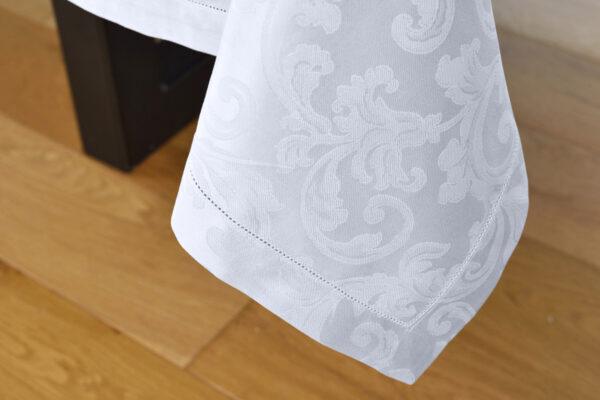 Tovaglia fiandra di cotone antimacchia con orlo a giorno colore bianco